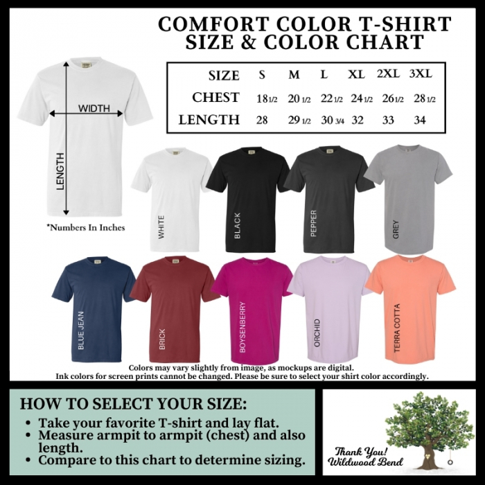 Comfort Color T-Shirt Size and Color Chart