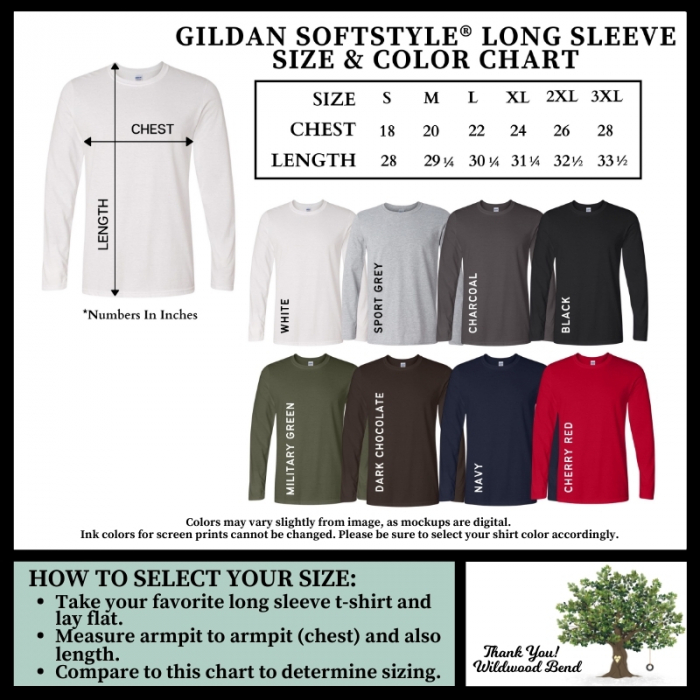 Gildan Softstyle Long Sleeve Size and Color Chart
