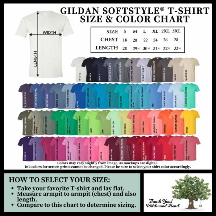 Gildan Softstyle T-Shirt Size and Color Chart