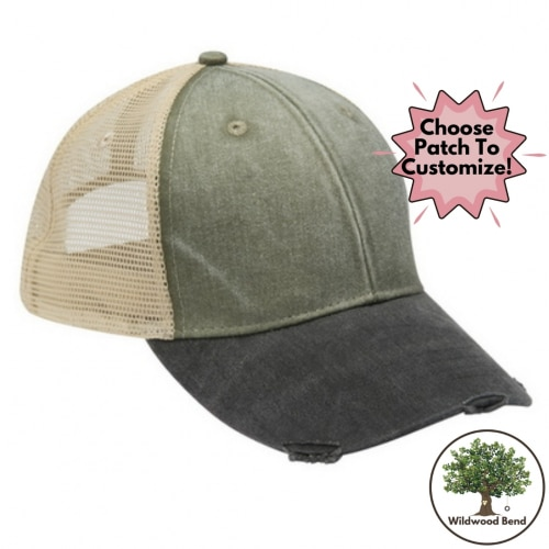 Mesh Trucker Hat Cactus and Black with Tan